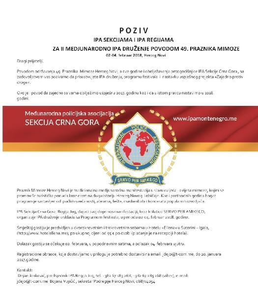 II. Međunarodno IPA druženje povodom 49.Praznika mimoze u Herceg Novom