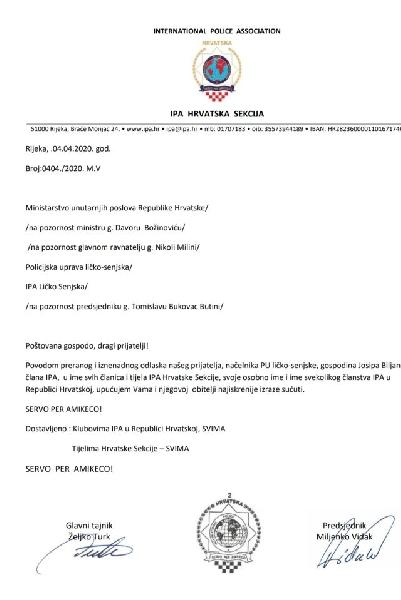 Izraz sućuti od IPA Sekcije Hrvatska