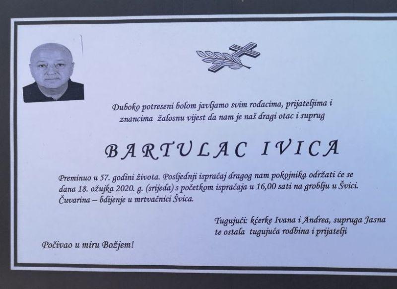 Tužna vijest - umro Ivica Bartulac